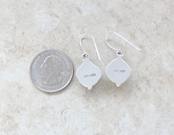 Image 2 of     Navajo Made White Buffalo Stone & Sterling Silver Earrings - 1418sn