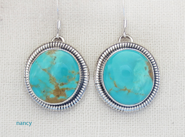 Turquoise & Sterling Silver Earrings Navajo Made - 1417tag