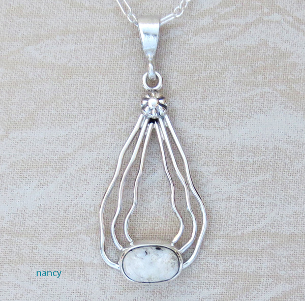Image 0 of    Sterling Silver Wire & White Buffalo Stone Pendant Navajo - 1528sn