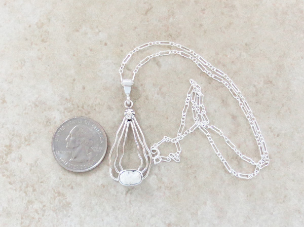 Image 1 of    Sterling Silver Wire & White Buffalo Stone Pendant Navajo - 1528sn
