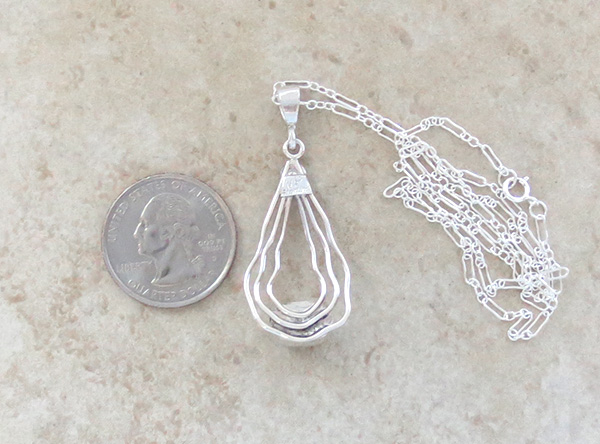 Image 3 of    Sterling Silver Wire & White Buffalo Stone Pendant Navajo - 1528sn