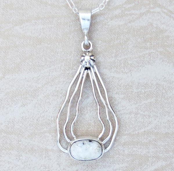 Sterling Silver Wire & White Buffalo Stone Pendant Navajo - 1528sn