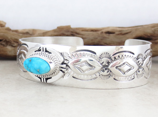 Image 3 of Turquoise & Sterling Silver Bracelet Native American Jewelry - 1539sn