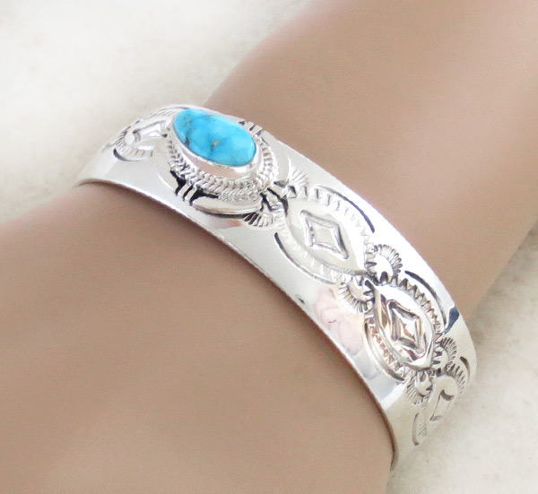 Turquoise & Sterling Silver Bracelet Native American Jewelry - 1539sn