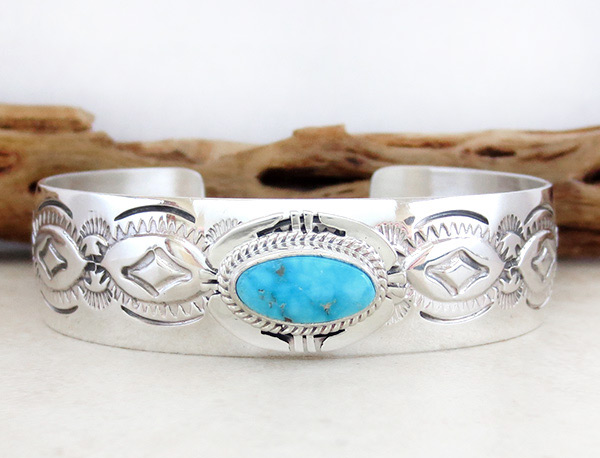 Image 1 of Turquoise & Sterling Silver Bracelet Native American Jewelry - 1539sn