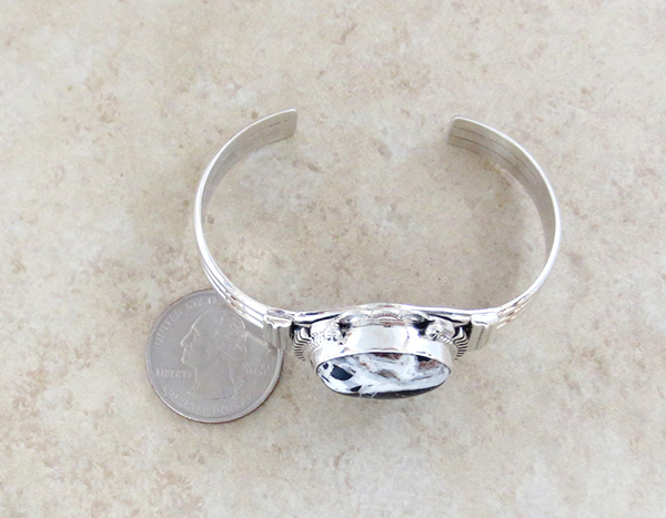 Image 4 of  Large White Buffalo Stone & Sterling Silver Bracelet Navajo - 1649sn