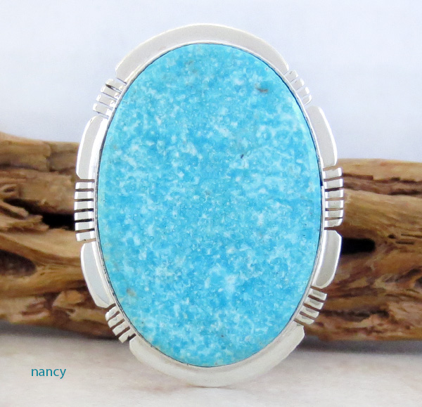 Big Turquoise & Sterling Silver Ring Size 10 Philip Sanchez - 3761sn