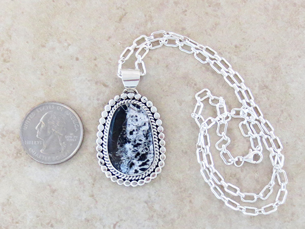 Image 1 of    Large White Buffalo Stone & Sterling Silver Pendant Navajo Made - 3884sn