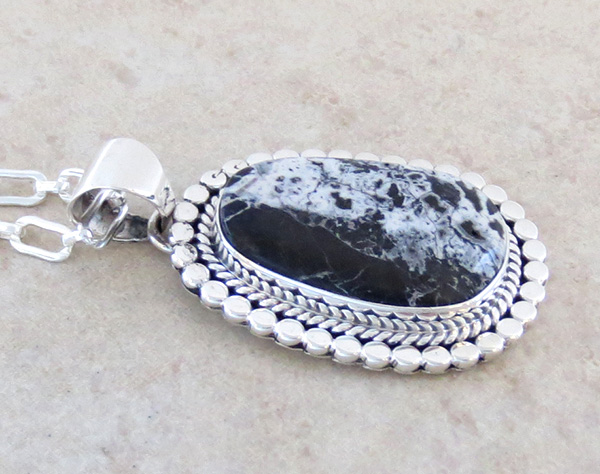 Image 2 of    Large White Buffalo Stone & Sterling Silver Pendant Navajo Made - 3884sn