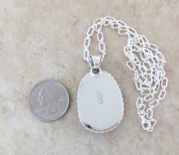 Image 4 of    Large White Buffalo Stone & Sterling Silver Pendant Navajo Made - 3884sn