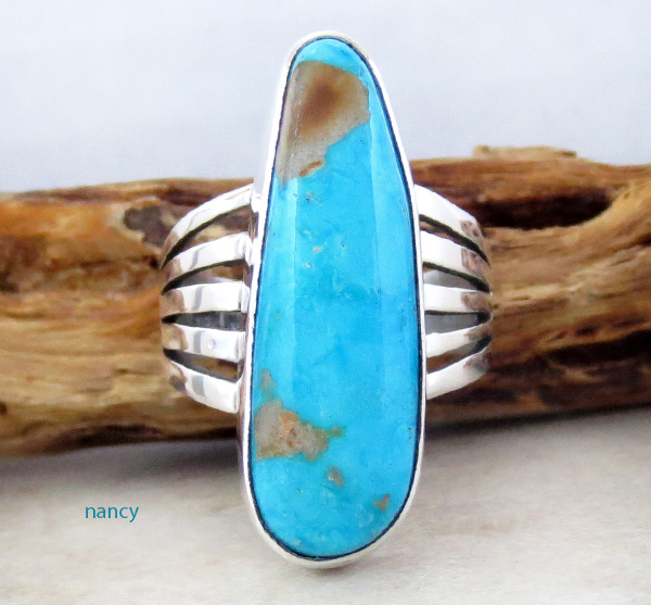 Native American Turquoise & Sterling Silver Ring Size 9 - 3641sn