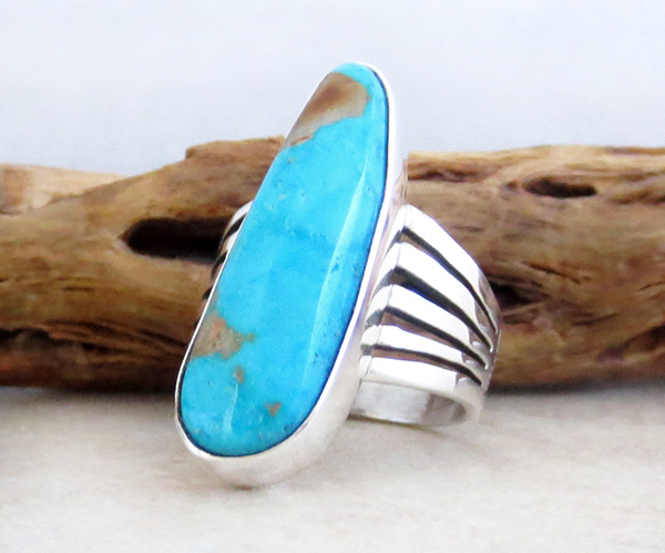 Image 2 of   Native American Jewelry Turquoise & Sterling Silver Ring Size 9 - 3641sn