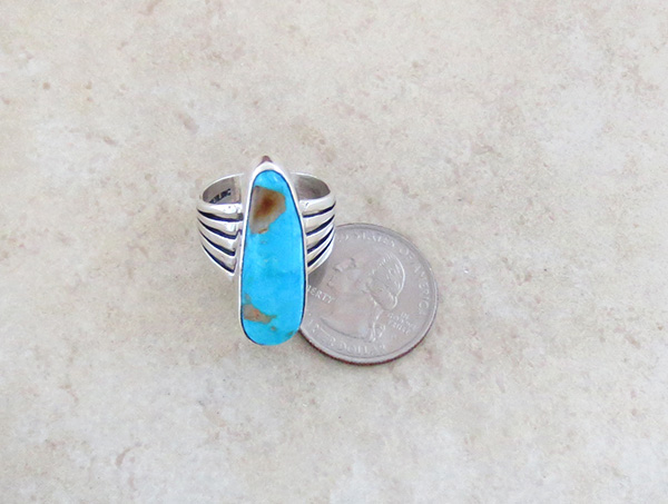 Image 3 of   Native American Jewelry Turquoise & Sterling Silver Ring Size 9 - 3641sn