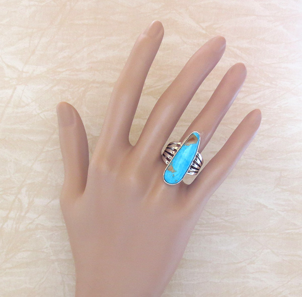 Image 5 of   Native American Jewelry Turquoise & Sterling Silver Ring Size 9 - 3641sn
