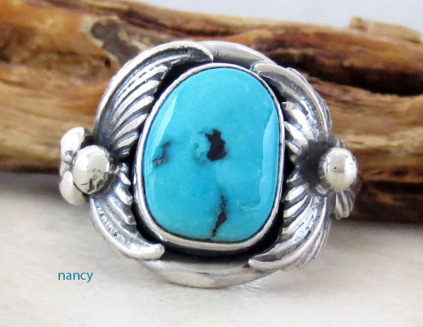 Classic Turquoise & Sterling Silver Ring Size 10 Bobby Piaso - 1228sn