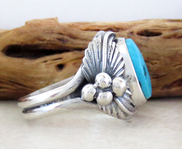 Image 1 of    Classic Turquoise & Sterling Silver Ring Size 10 Bobby Piaso - 1228sn