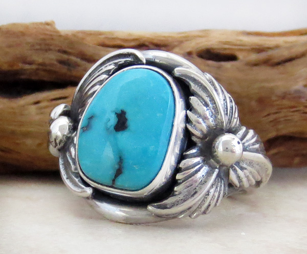 Image 2 of    Classic Turquoise & Sterling Silver Ring Size 10 Bobby Piaso - 1228sn