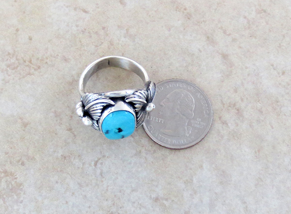 Image 3 of    Classic Turquoise & Sterling Silver Ring Size 10 Bobby Piaso - 1228sn