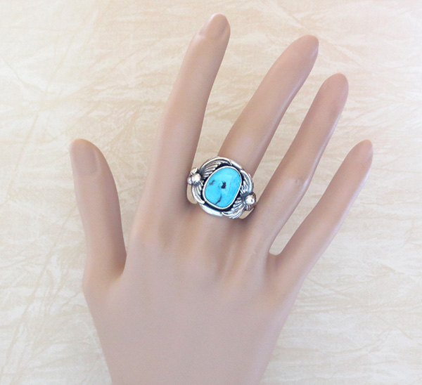 Image 5 of    Classic Turquoise & Sterling Silver Ring Size 10 Bobby Piaso - 1228sn