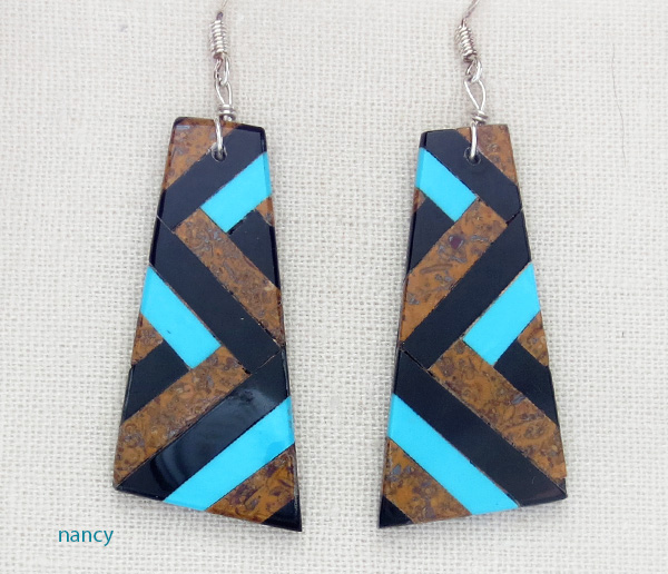Turquoise Jet Brown Inlay Earrings Kewa Chaslyn Crespin - 1438rio