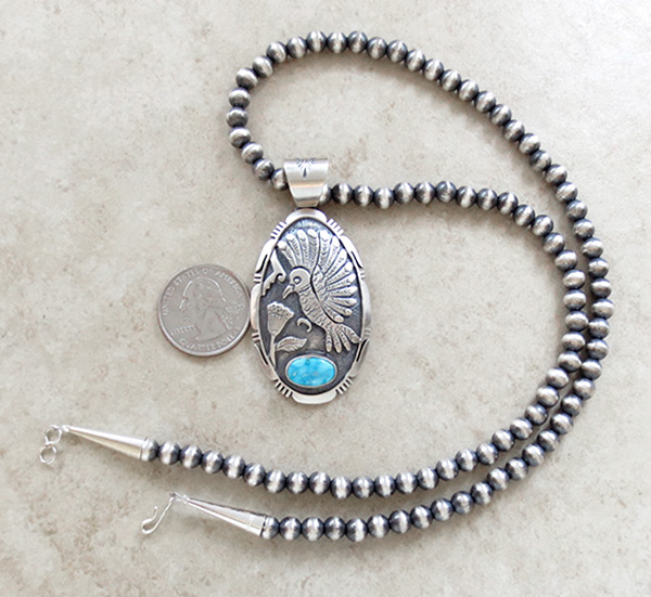 Image 4 of   Sterling Silver Hummingbird Pendant with 22