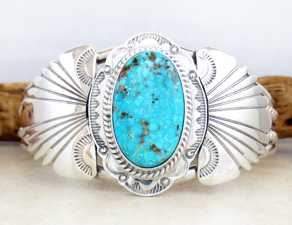 Image 0 of  Big Kingman Turquoise & Sterling Silver Bracelet Joe Piaso Jr Navajo - 1025sn