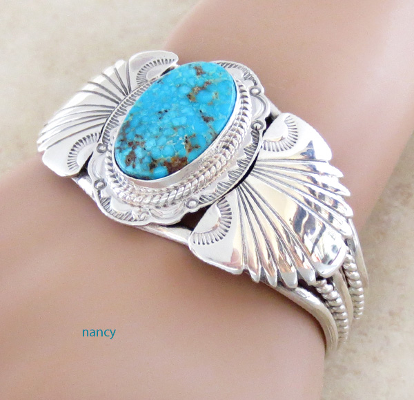Image 1 of  Big Kingman Turquoise & Sterling Silver Bracelet Joe Piaso Jr Navajo - 1025sn