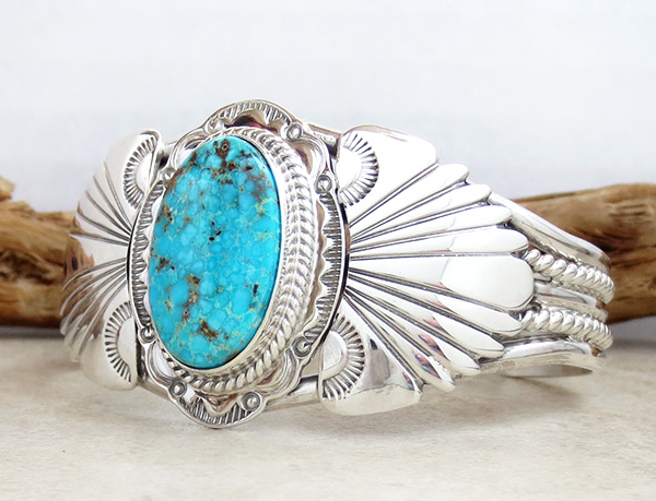 Image 3 of  Big Kingman Turquoise & Sterling Silver Bracelet Joe Piaso Jr Navajo - 1025sn