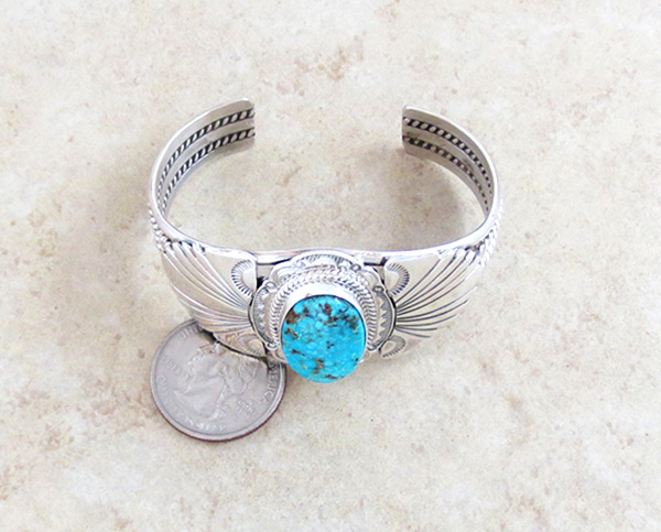 Image 5 of  Big Kingman Turquoise & Sterling Silver Bracelet Joe Piaso Jr Navajo - 1025sn