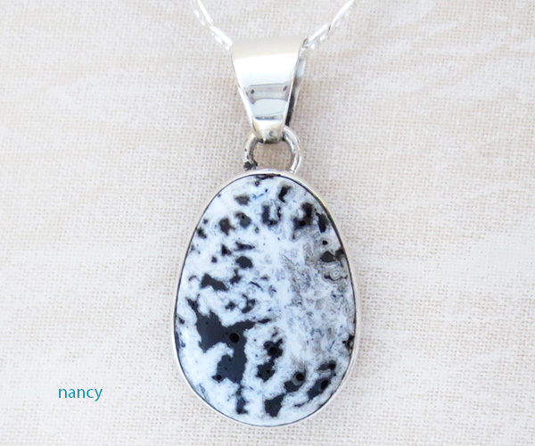 Image 0 of    Navajo Jewelry White Buffalo Stone & Sterling Silver Pendant - 1425sn