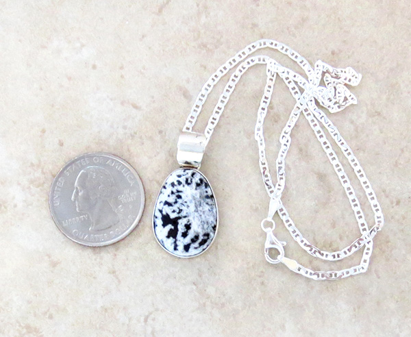 Image 1 of    Navajo Jewelry White Buffalo Stone & Sterling Silver Pendant - 1425sn