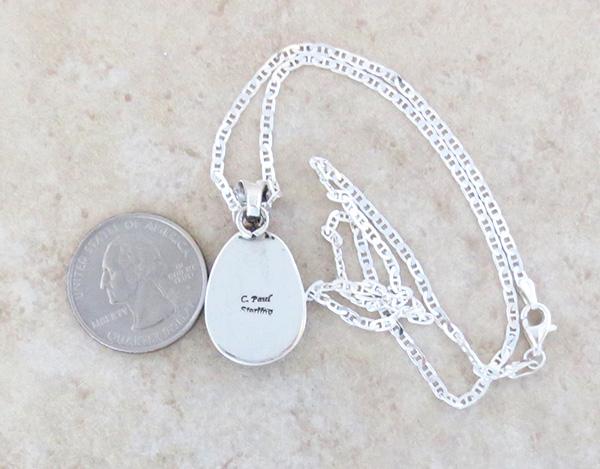 Image 3 of    Navajo Jewelry White Buffalo Stone & Sterling Silver Pendant - 1425sn