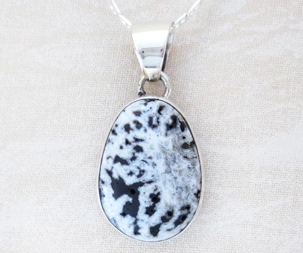 Navajo Jewelry White Buffalo Stone & Sterling Silver Pendant - 1425sn