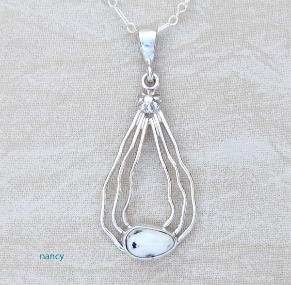 Sterling Silver Curvy Wire & White Buffalo Stone Pendant - 1017sn