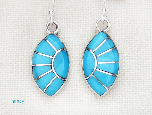 Turquoise Inlay & Sterling Silver Earrings Zuni Made - 2970sn