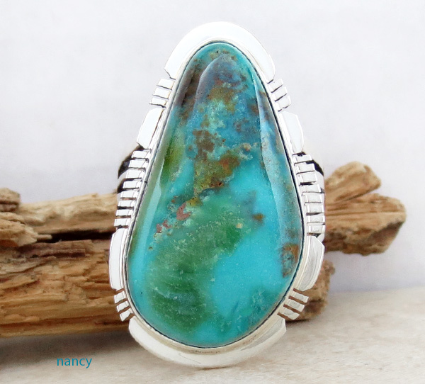 Big Native American Turquoise & Sterling Silver Ring size 9.25 - 3576sn