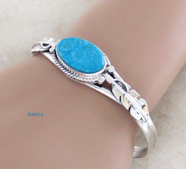 Kingman Turquoise & Sterling Silver Bracelet Navajo Made - 3886sn