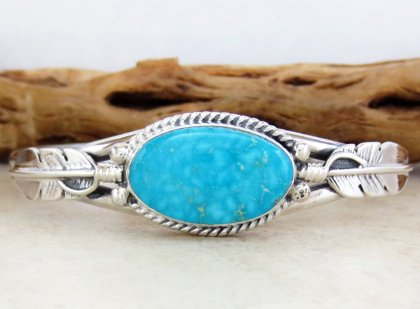 Image 1 of    Kingman Turquoise & Sterling Silver Bracelet Navajo Made - 3886sn