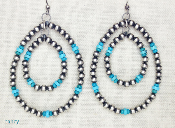Large Sterling Silver Desert Pearl & Turquoise Hoop Earrings Navajo - 1652rio