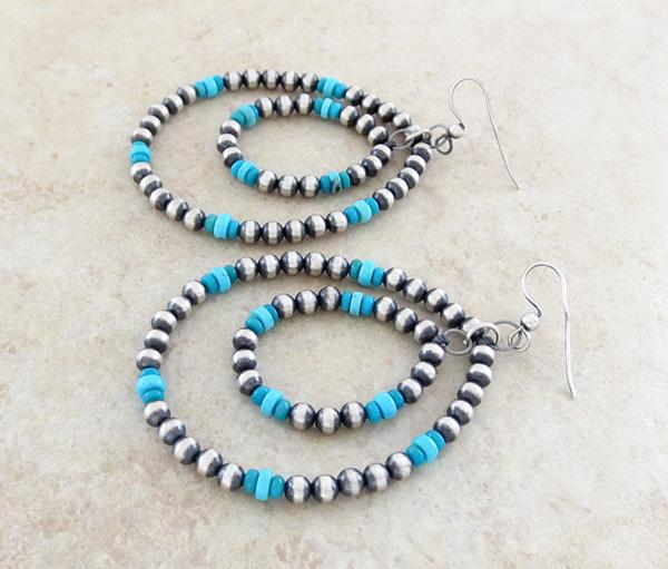 Image 1 of    Large Sterling Silver Desert Pearl & Turquoise Hoop Earrings Navajo - 1652rio