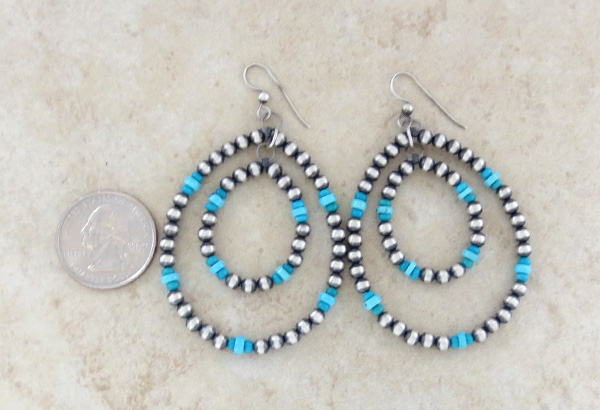 Image 2 of    Large Sterling Silver Desert Pearl & Turquoise Hoop Earrings Navajo - 1652rio