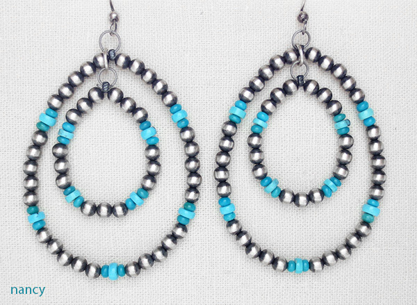 Image 0 of    Large Sterling Silver Desert Pearl & Turquoise Hoop Earrings Navajo - 1652rio