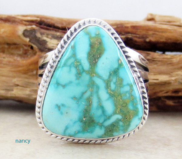 Navajo Made Turquoise & Sterling Silver Ring Size 9 - 1329sn