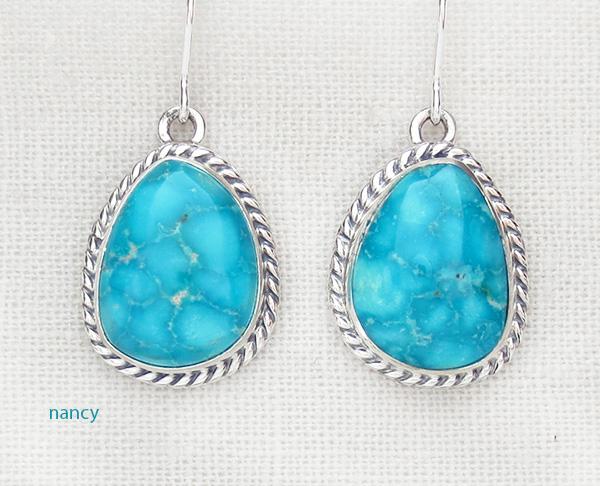 Kingman Turquoise & Sterling Silver Earrings Sampson Jake - 3762sn