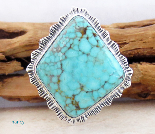 Turquoise & Sterling Silver Ring Size 8 Lyle Piaso Navajo - 1429sn