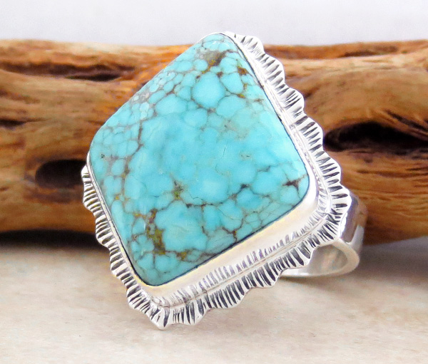 Image 2 of       Turquoise & Sterling Silver Ring Size 8 Lyle Piaso Navajo - 1429sn