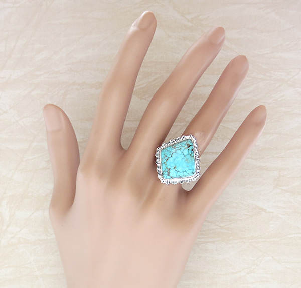 Image 4 of       Turquoise & Sterling Silver Ring Size 8 Lyle Piaso Navajo - 1429sn