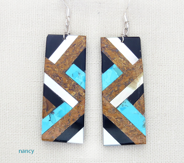 Image 0 of    Turquoise Mop Jet Brown Inlay Earrings Kewa Chaslyn Crespin - 1535rio