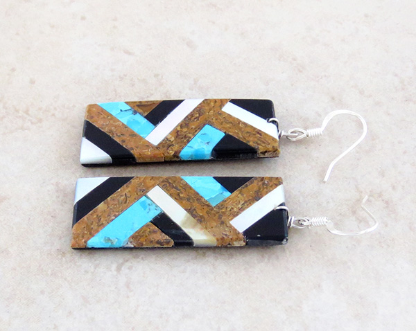 Image 1 of    Turquoise Mop Jet Brown Inlay Earrings Kewa Chaslyn Crespin - 1535rio