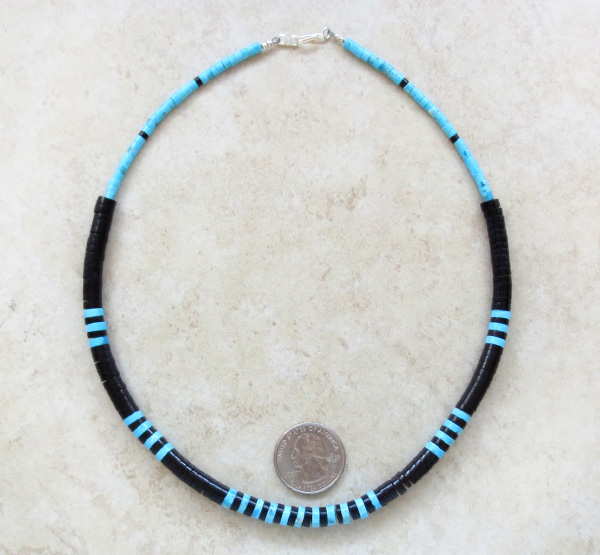 Image 1 of  Graduated Turquoise & Jet Heishi Necklace 18